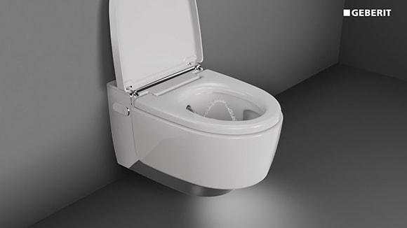 GEBERIT AquaClean : le WC-DOUCHE accroché dans une salle de bain grise